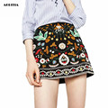2016 Women European Style Heavy Embroidery A-Line Skirts Lady Fashion Bodycon Saias Ethnic Mini skirt
