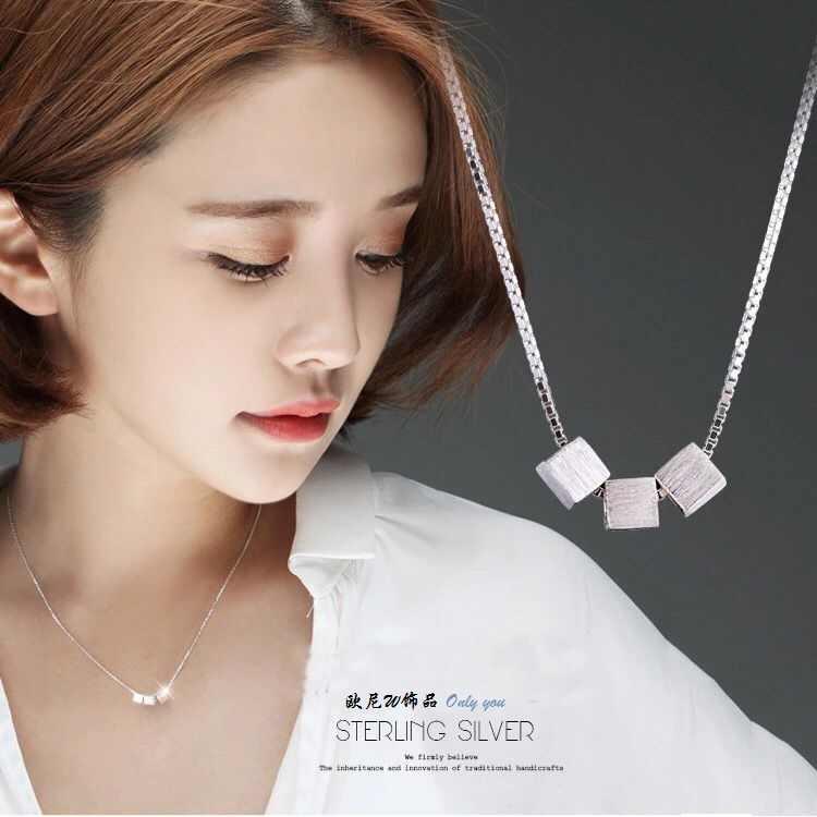 925 srebro biżuteria proste peeling plac srebro biżuteria Choker naszyjniki i wisiorki dla kobiet VNS8005