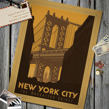 New York City The Manhattan Bridge Vintage Poster Kraft Paper Wall Sticker Art Antique Painting Living Room Cafe Bar Decor Home