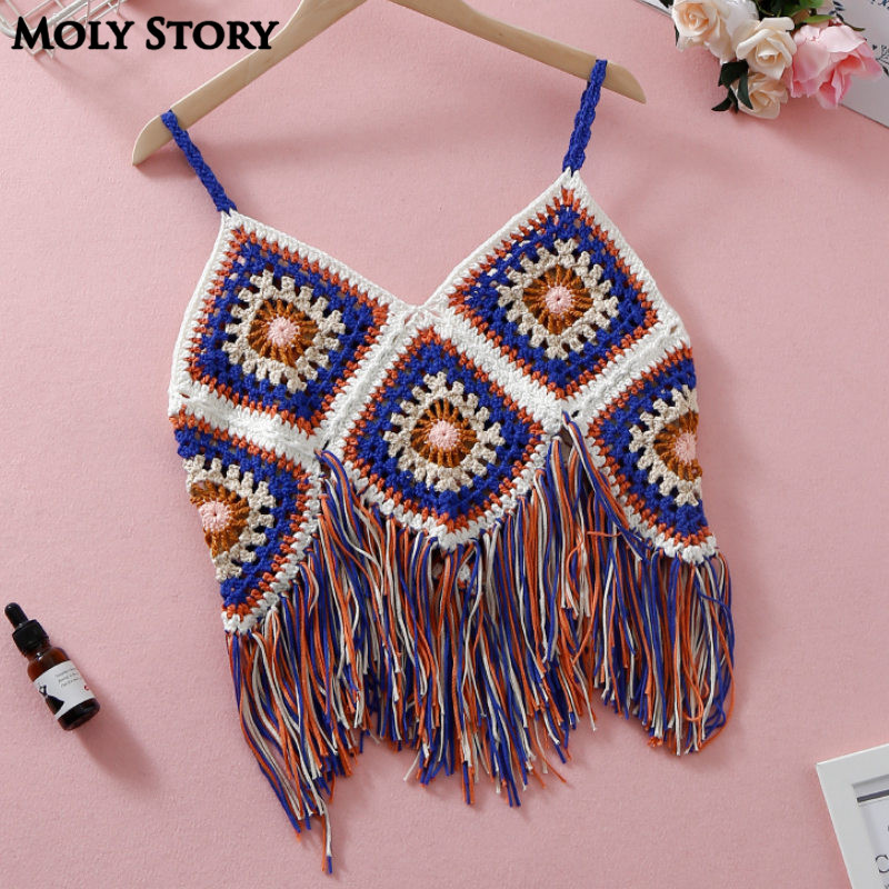 Boho Crop Top Women Bralette Tassel Beach Tops Crochet Bandeau Strappy Bustier Halter Bohemia Cropped Top