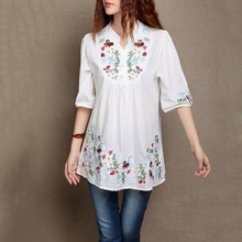 New floral partten boho shirt Women Casual Mexican Ethnic Gypsy style  Embroidered V neck short sleeve