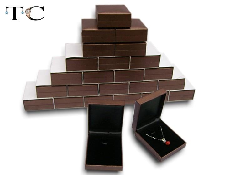 High Quality Xmas Gift Packaging Silver Diamond Pendant Earrings Box Brown Velvet Insert Jewelry Case