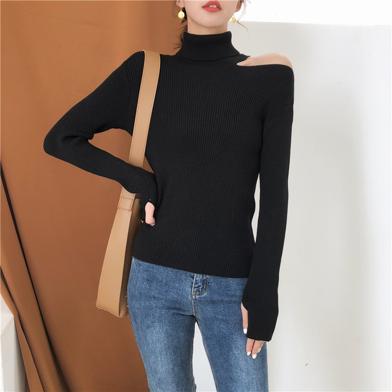 Colorfaith Women Pullovers Sweater 19 Knitting Autumn Winter Turtleneck Sexy Hollow Out Off Shoulder Casual Ladies Tops SW755 13