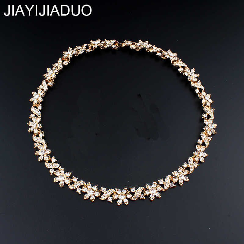 jiayijiaduo  African women fashion necklace gold color crystal chokers necklace jewelry dropshipping