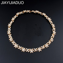 jiayijiaduo African women fashion necklace gold color crystal chokers necklace jewelry dropshipping(China)