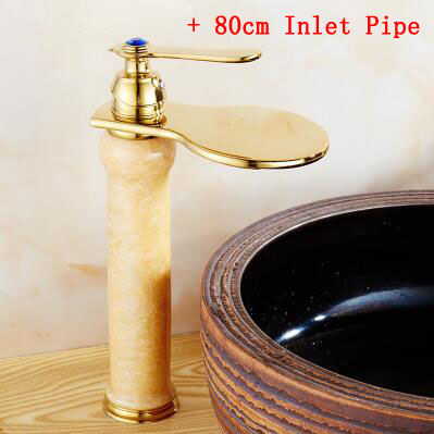 Whosale or retail Brass jade style sink basin faucets mixer tap 80cm inlet pipe European bathroom