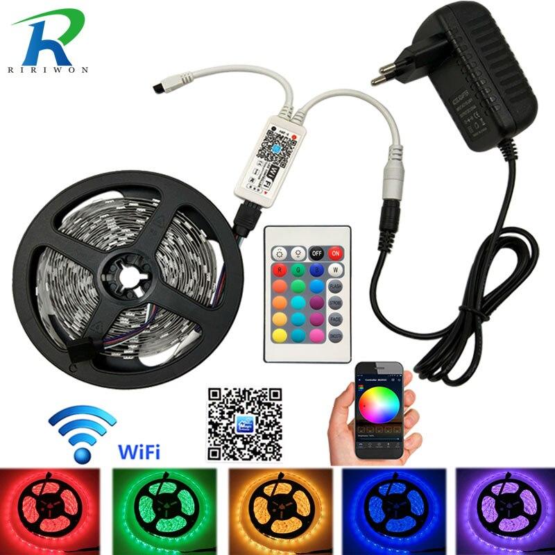Wifi 5M 10M 15M RGB LED Strip SMD 5050 Led Strip Light Waterproof Tape DC 12V Flexible Fita Neon Ribbon tape with Wifi control