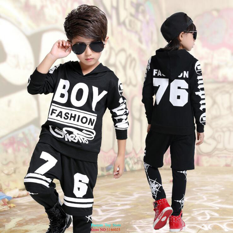Boys Girls Street Dance Clothes For Kids Cotton Letter Print Hoodies Sweatshirt Pant 2pcs HipHop Teen Boys Clothing Sets FZ00021 цена 2017