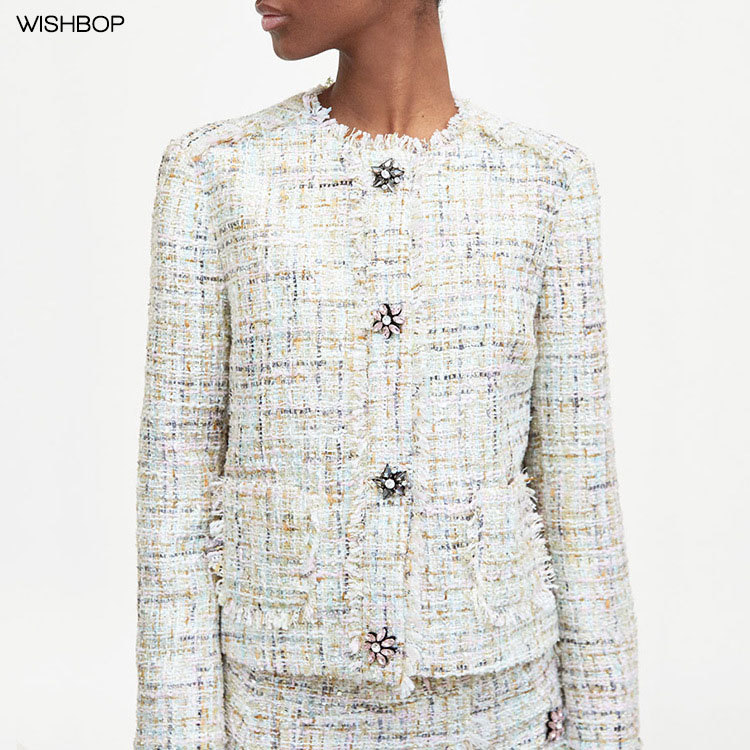все цены на WISHBOP 2018 Fashion Ladies Multicoloured TWEED JACKET gem snap buttons Round neck jacket long sleeves patch pocket frayed trim