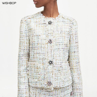 WISHBOP 2018 Fashion Ladies Multicoloured TWEED JACKET gem snap buttons Round neck jacket long sleeves patch pocket frayed trim