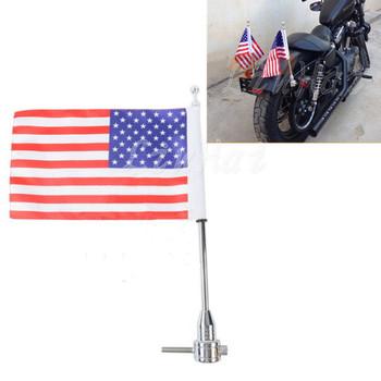 Bagażnik motocyklowy pionowa flaga biegun amerykański dla Harley Touring Road King Glide amp FLHT tanie i dobre opinie Luggage Rack Vertical Flag 0inch 0 4kg 6061 Billet Aluminum LH1036 ZORBYZ Bagaż rolkach