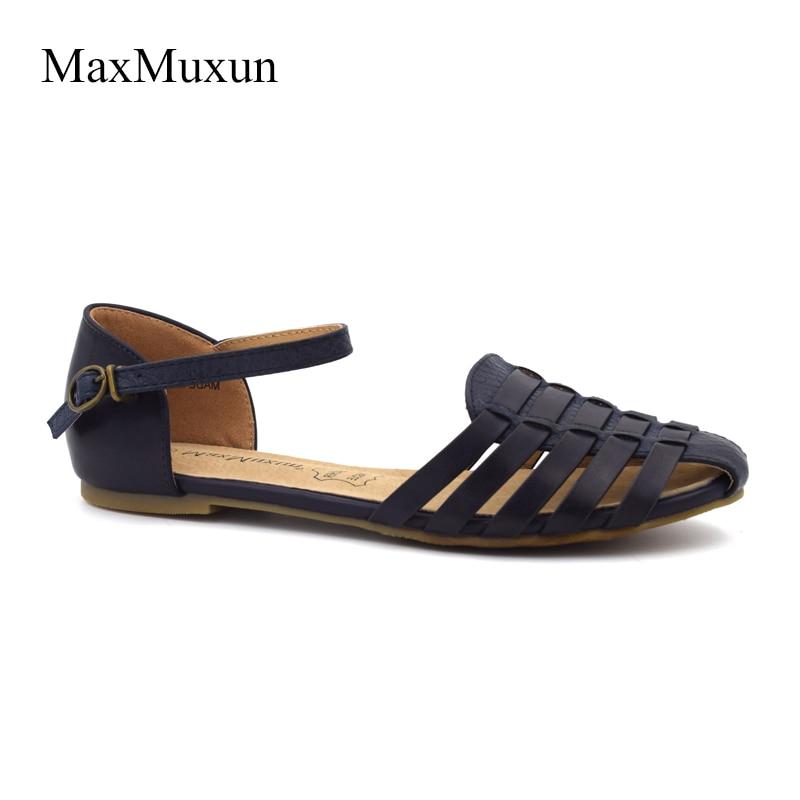 MaxMuxun Wanita Slingback Sandal Musim Panas Roma Ankle Strap Ditutup - Sepatu Wanita - Foto 2