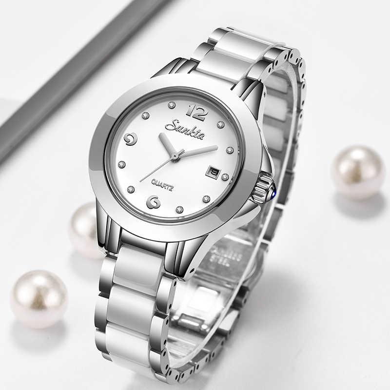 SUNKTA 2019 nuevo reloj de oro rosa relojes de cuarzo para mujer, reloj de pulsera de lujo para mujer, reloj de pulsera para chica, reloj femenino + caja