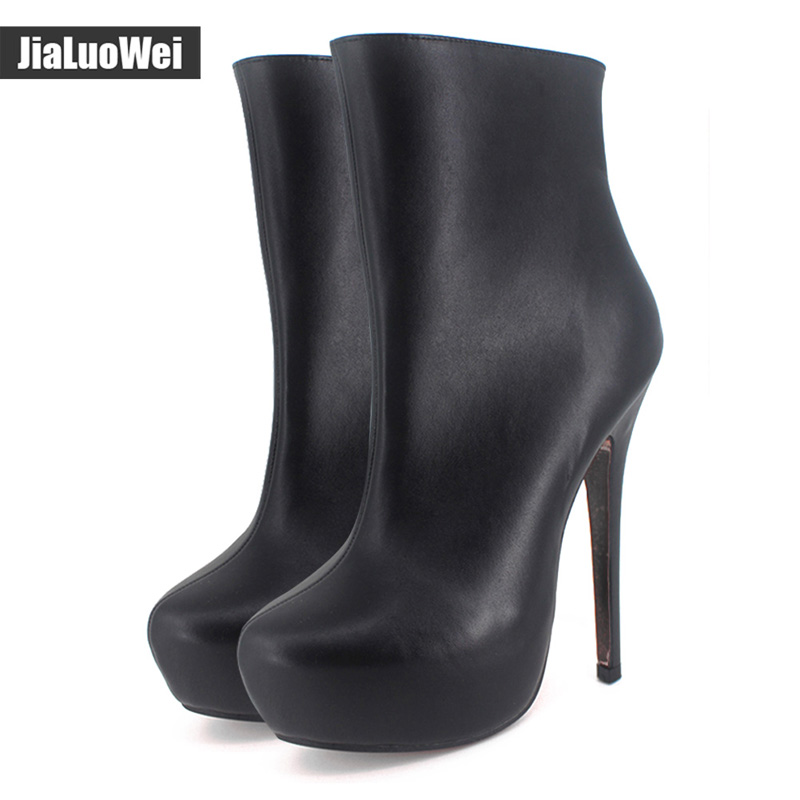jialuowei Women Boots Black Boots Woman Sexy Fetish 15cm High Heels 4cm Platform Pointed Toe Side Zipper Mid-Calf Boots new arrival superstar genuine leather chelsea boots women round toe solid thick heel runway model nude zipper mid calf boots l63