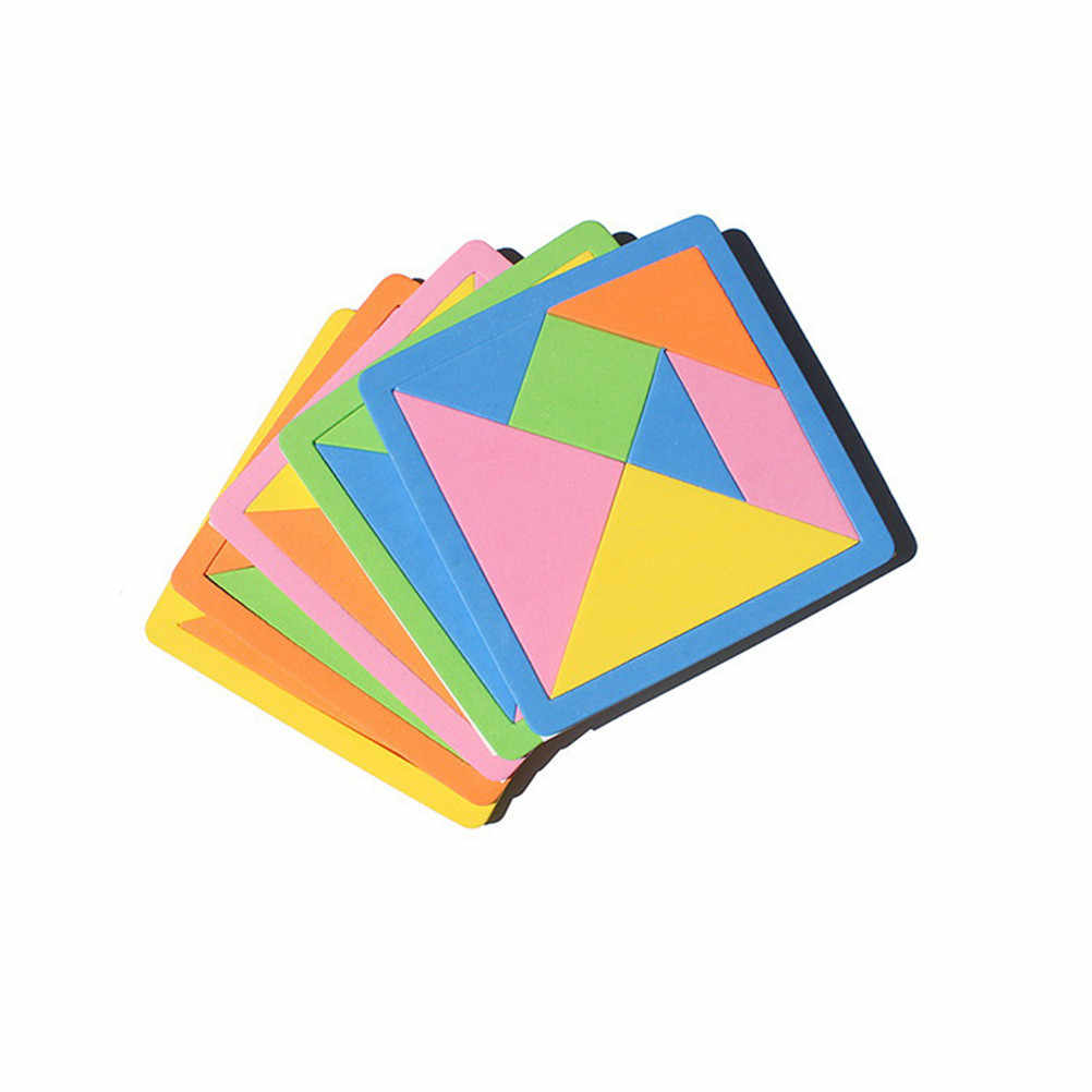 TOYZHIJIA 9*9*0.4cm Wooden Tangram 7 Pcs Jigsaw Puzzle Colorful Square IQ Game Brain Teaser Intelligent Educational Toys