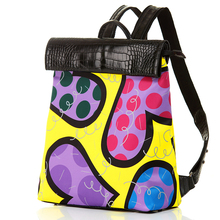 ROMERO BRITTO Free Shipping Shoulder Bags Female 2016 Hot Sales New Casual Fashion Backpacks Travel Bags Graffiti College Wind