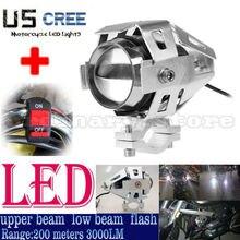 Металл Серебристый Хром мотоциклетные U5 светодиодный 125 Вт 3000LM Spotlight фары Противотуманные фары вождения пятно ночь безопасности лампа + 1 шт. переключатель