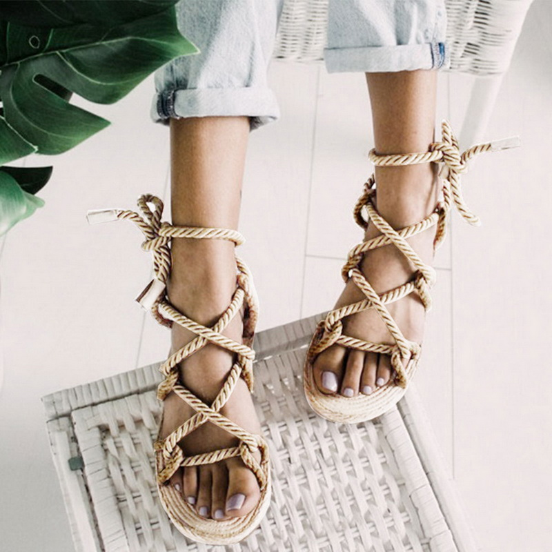 LOOZYKIT Women Sandals 2019 Contracted Rome Stagger Hemp Rope Women Sandals Casuals Gladiator Cross Tied Women Shoes