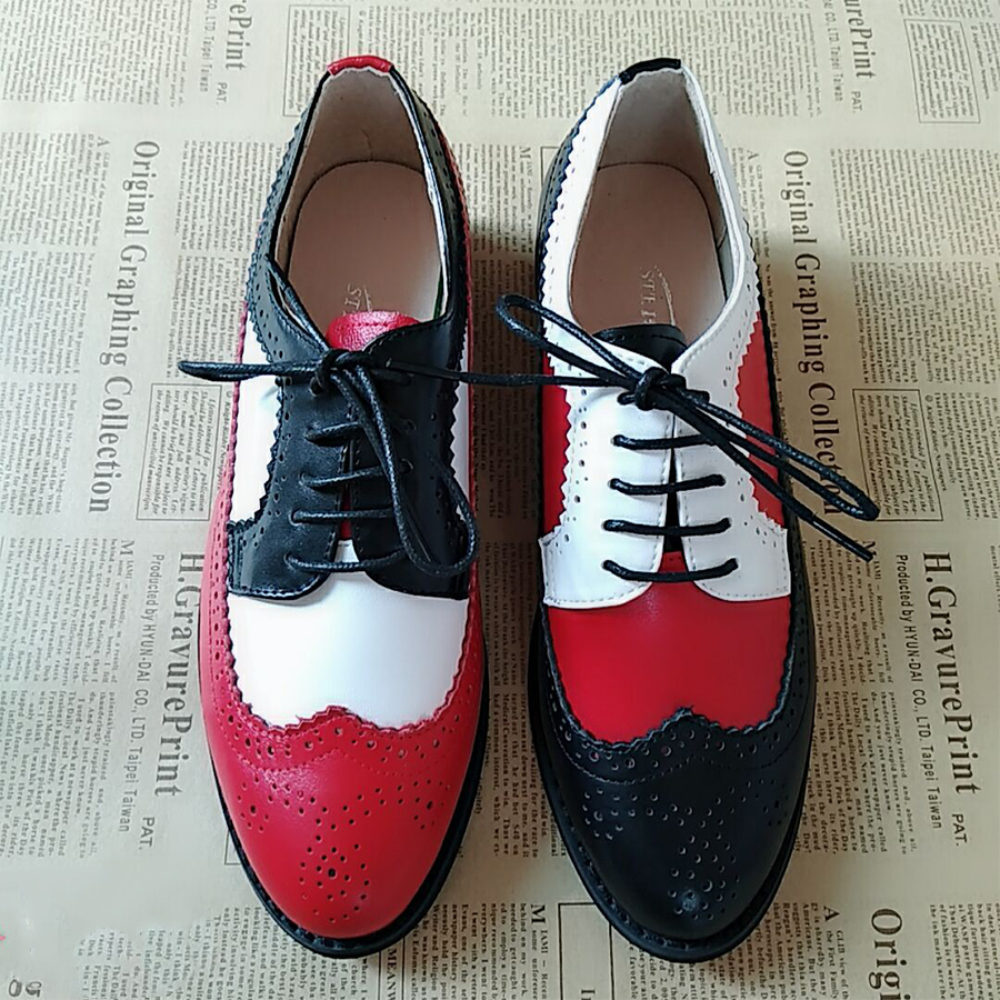 100% Genuine cow leather casual designer vintage lady flats shoes handmade oxford shoes for women blue grey black red with fur 100% genuine cow leather brogue casual designer vintage lady flats shoes handmade oxford shoes for women with fur brown