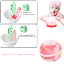 Baby Dishes Feeding Bowl Food Plates Feeder Food Container Children's Tableware for Children Bowl Temperature Sensing Spoon Fork