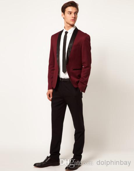 Aliexpress.com : Buy Hot Brand Groom Tuxedo Wine Red Shawl Lapel