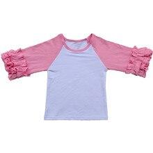 5ddabea44 3/4-Sleeve baby girls icing raglan shirts boutique cute ruffled top T-