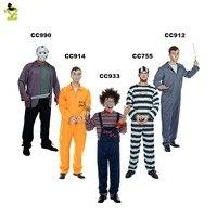 Men's Prisoner Halloween Costume bloody prisoner clothes men prison uniform Freddy Vs. Jason party killer cosply costumes