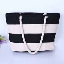 HOT PRODUCT! Canvas Striped Beach Tote Bag