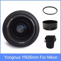 Yongnuo YN35mm F2 lens Wide-angle Large Aperture Fixed Auto Focus Lens + 58mm UV filter +lens bag +  Lens Hood For Nikon