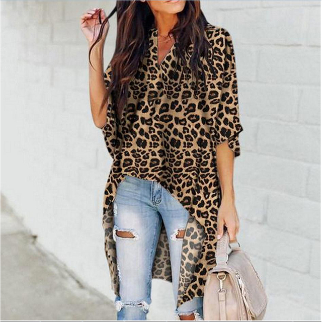 Fashion Women's Casual V-Neck Blouse Half Flare Sleeve Long Shirt Ladies Irregular Leopard Print Womens Tops and Blouse Summer