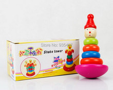цены Free Shipping ! 2015 ! New ! Wooden toys, baby rainbow clown tumbler stacked piles of music children's wooden toy tower