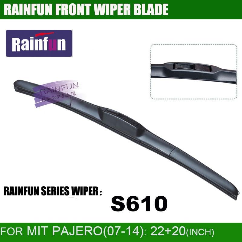RAINFUN Специализированный автомобиль стеклоочистителя для 07-14 MITSUBISHI PAJERO, 22+ 20 дюймов Автомобильный Стеклоочиститель Авто мягкий стеклоочиститель, 2 шт. в партии