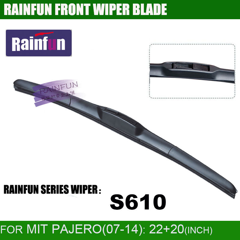 RAINFUN dedicated car wiper blade for 07-14 MITSUBISHI PAJERO, 22+20 INCH Car Wiper auto soft windshield wiper, 2 PCS a lot