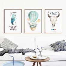 Nordic Watercolor Hot Air Balloon Feather Animal Canvas Painting Abstract Poster Print Picture Bedroom Home Wall Art Decoration
