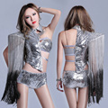 female silver sexy costume sequins DJ stage clothing bar DS costumes  atmosphere singer dance hip hop club set singer dancer