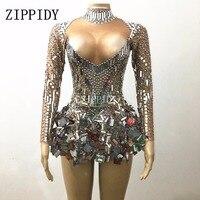 Shining Silver Mirrors Stone Dress Female Singer Dancer Bright Bodysuit Costume One piece Nightclub Dress Oufit Party Dresses