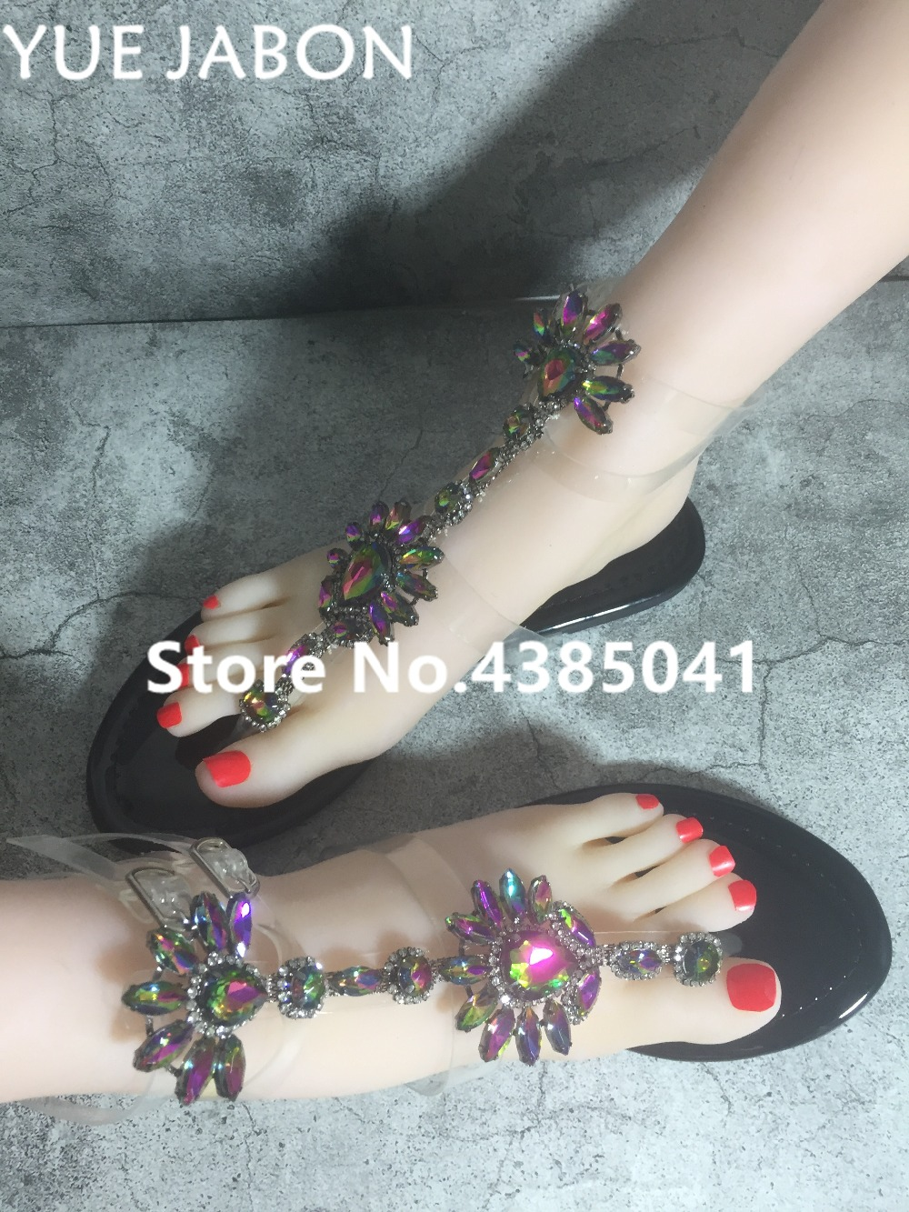HTB1.q2Or8mWBuNkSndVq6AsApXaI 2019 Woman Sandals Women Shoes Rhinestones Gladiator Flat Sandals Crystal Chaussure Plus Size 43 tenis feminino Green Flip Flops