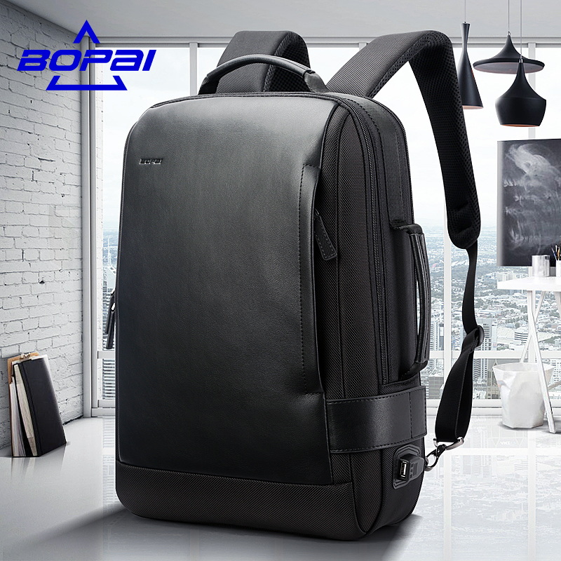 BOPAI New Designed Travel Leather Backpacks for Men 15.6 inch Mens Laptop Bags Anti Theft USB Charging Multifunctional mochilas