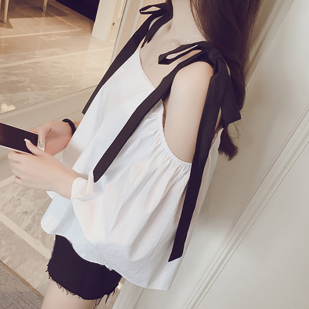 Bowknot Casual Party Travel Boat Neck Lace Up Strap Cold Shoulder Summer Solid Women Shirt Pullover Half Sleeve Loose Daily Wear