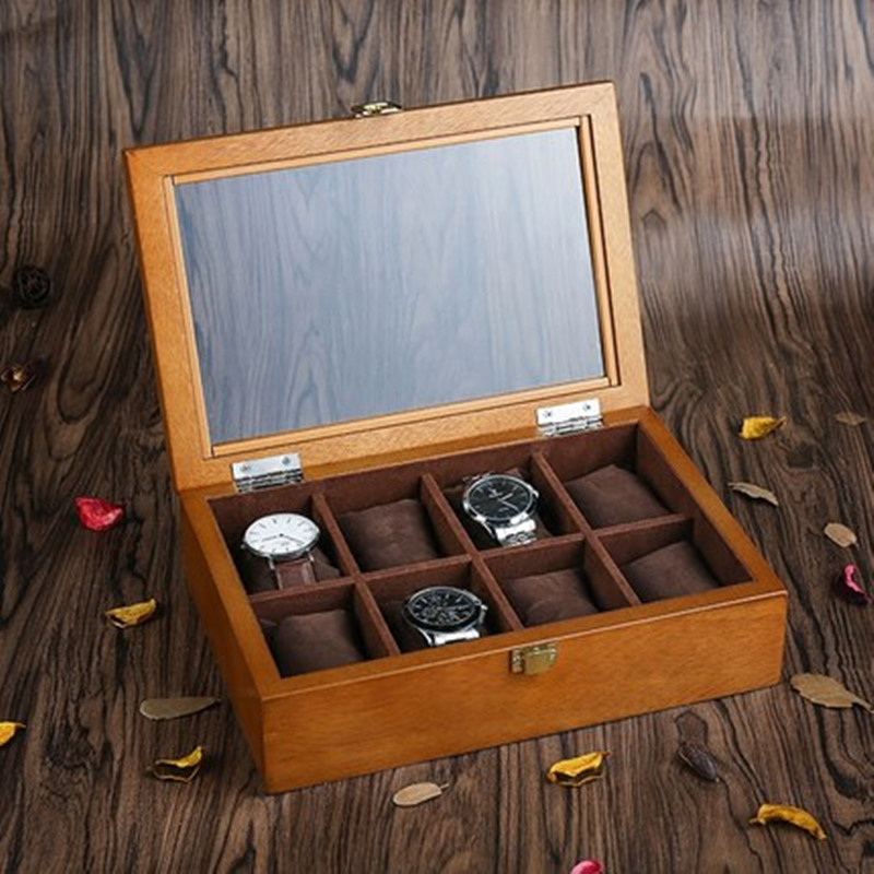 YA Top 8 Slots Wood Display Watch Box Fashion Retro European Style Watch Storage Cases Wooden Watch And Jewelry Boxes C031 han 10 grids wood watch box fashion black watch display wooden box top watch storage gift cases jewelry boxes c030