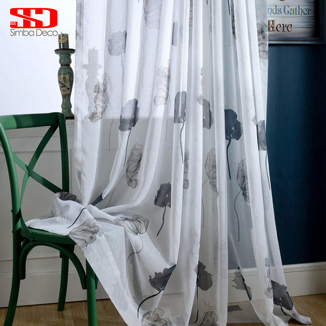 Sheer Curtains For Bedroom Voile Floral Chinese Black Ink Lotus