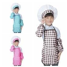 Детский фартук+ шапка шеф-повара+ манжеты, набор для приготовления пищи, выпечки, сделай сам, модный детский костюм шеф-повара SYT9559