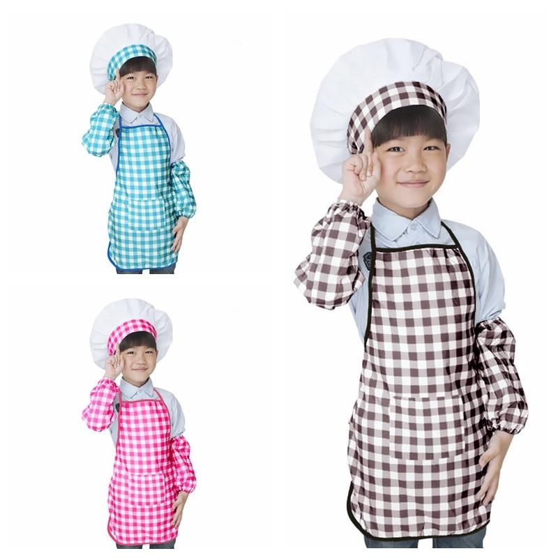 ילדי סינר + שף כובע + אזיקי סט ילדים מלאכת בישול אפיית DIY ציור אופנה תינוק שף תלבושות SYT9559