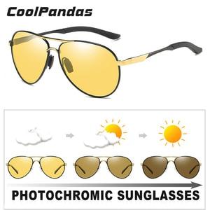 Image 3 - Unisex Luchtvaart Rijden Meekleurende Zonnebril Vrouwen Hd Gepolariseerde Geel Lens Chameleon Zonnebril Mannen Oculos Auto Accessoires