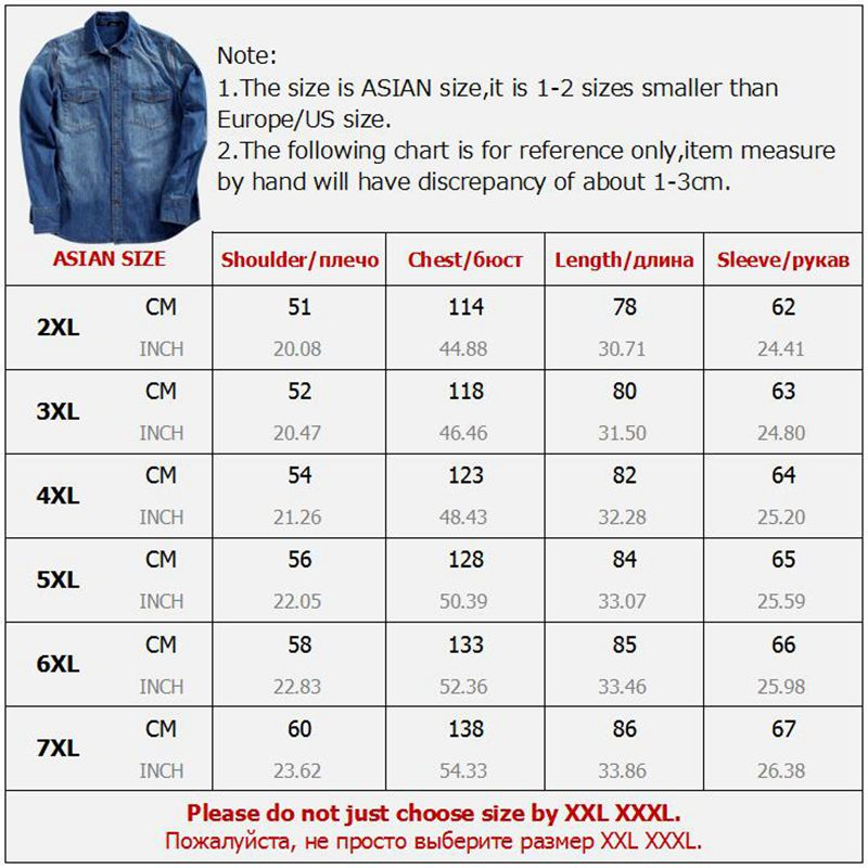 8f4441d6899 Aliexpress.com   Buy GXXH 8XL 7XL 6XL Men Jeans Shirt Plus Size Large Show  Thin Long Sleeve Denim Shirts Men s Oversize Cowboy Big Tall Male Clothing  from ...