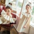 2016 корейская девушка платье принцессы дети девушка оборками одежда из хлопка и пелены 2-12yrs мода сладкие дети Clothings