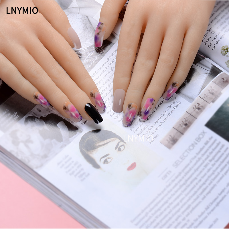 Dyeing fake nails long color artificial nails pink black acrylic ...
