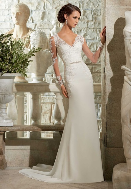 f22494c2a0b3 Lace Mermaid Wedding Dresses With Long Train 2017 Sheath-Column V-Neck Long  Sleeve Zipper With Button and Ribbons