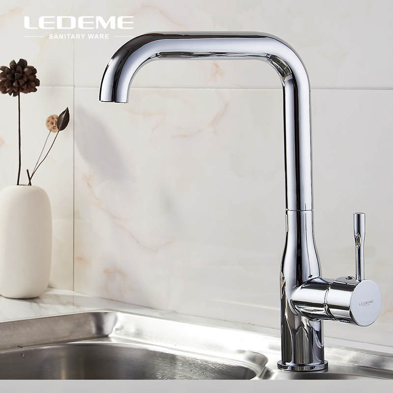 LEDEME Chrome Plated Kitchen Sink Vessel Faucet One-Handle Bar Brass Cold Hot Water Tap Mixer For Kitchen Tap L4698