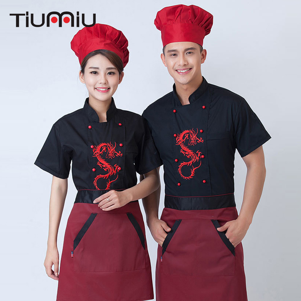 Dragon Embroidery Chef Uniform Short Sleeved Hotel Chef Service Restaurant Catering Kitchen Chef Workwear Clothing For Men Women